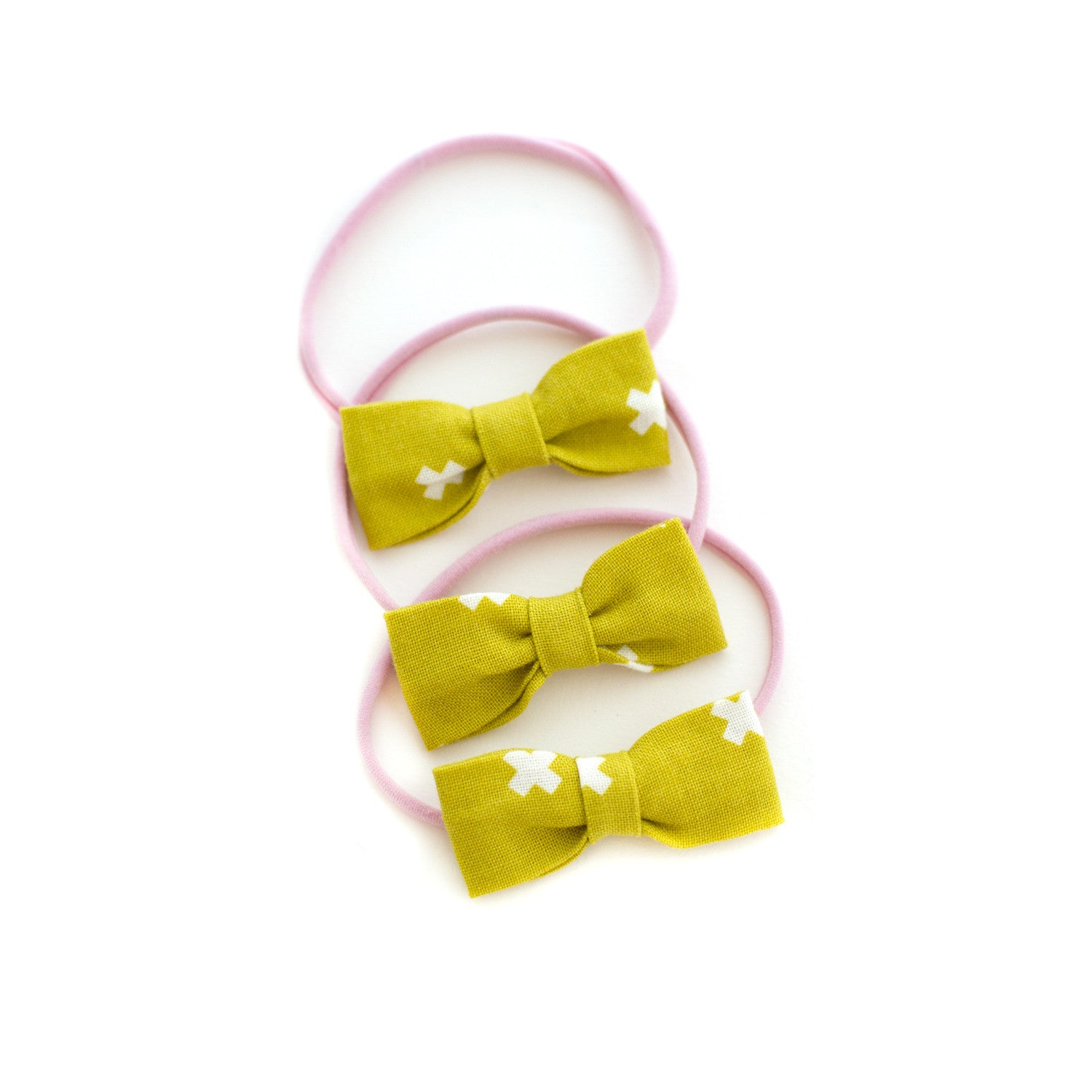Mustard Plus Sign Baby Bow Headband