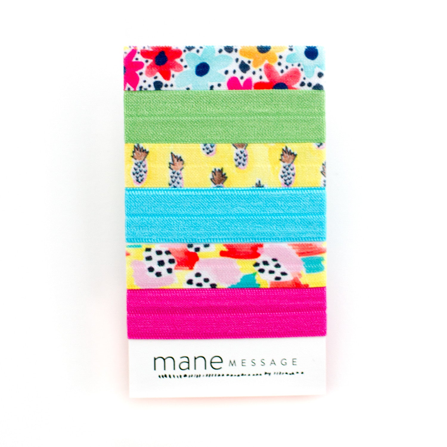pineapple floral polka dot print hair ties made with my friend court and mane message