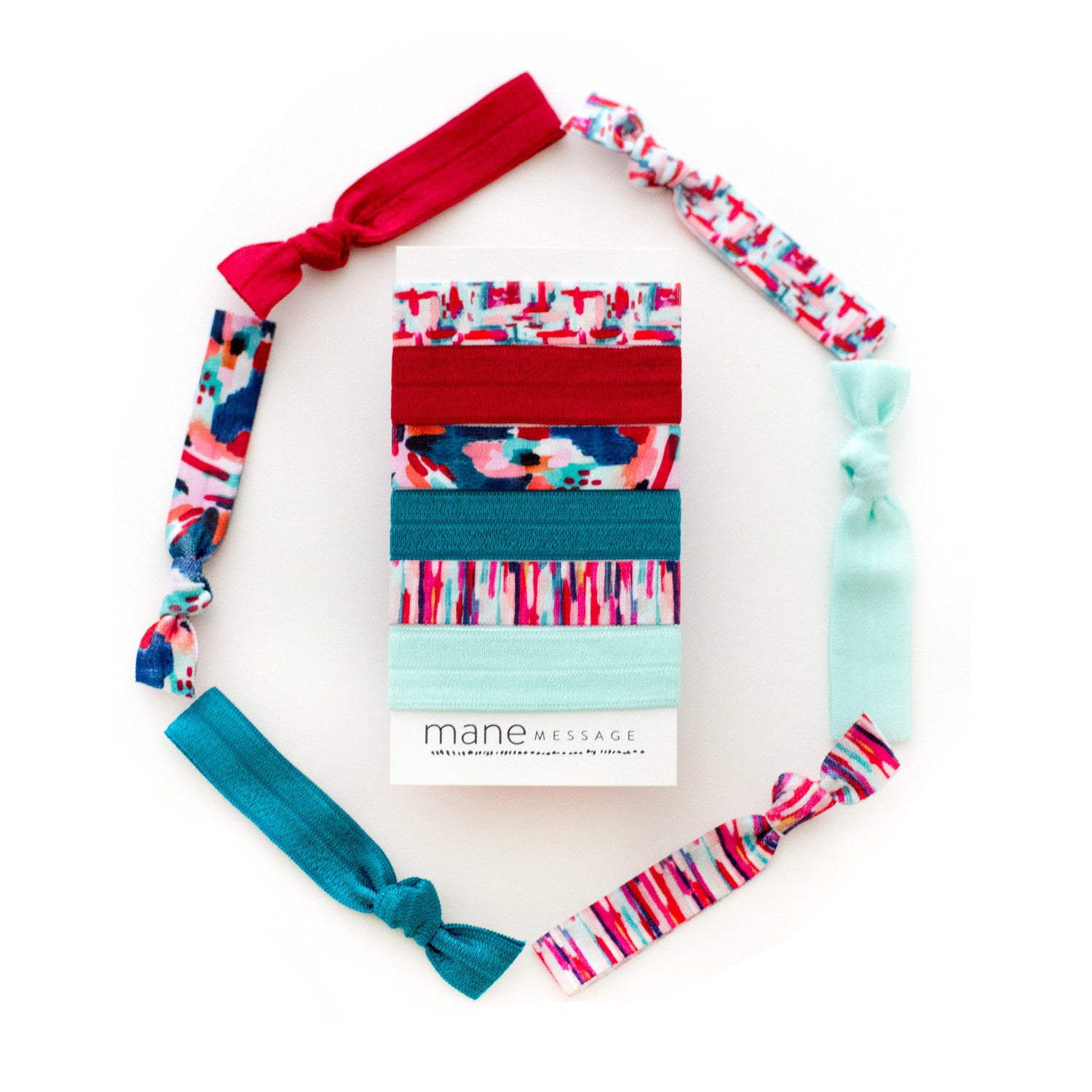 abstract red teal and mint hair ties for christmas