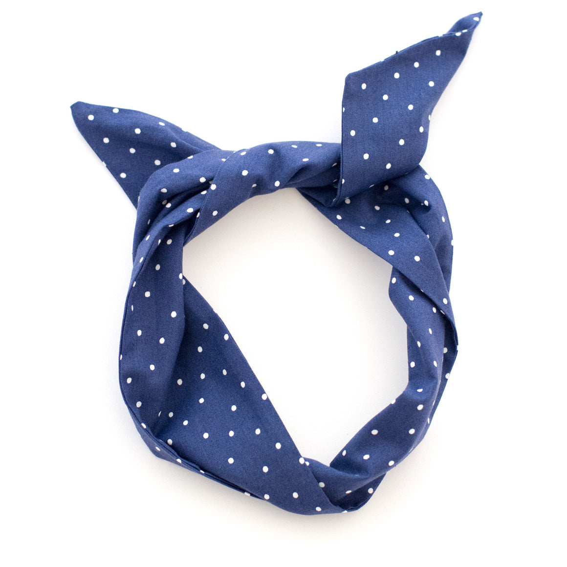 Navy and White Polkadot Wire Headband