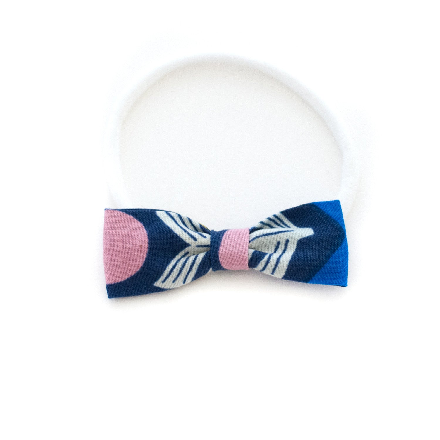 Navy Abstract Floral Headband for Newborns to Toddlers - soft elastic headband that doesn't leave creases