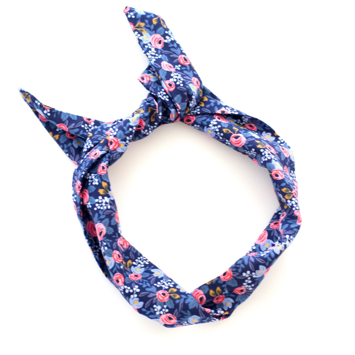 Floral Print Navy and Pink Wire Headband | Rifle Paper Co Fabric ...