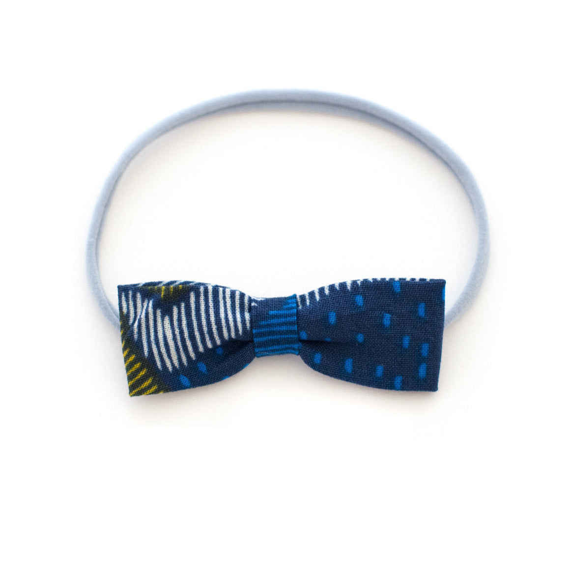Navy Texture Baby Headband | Small Neutral Hipster Bow