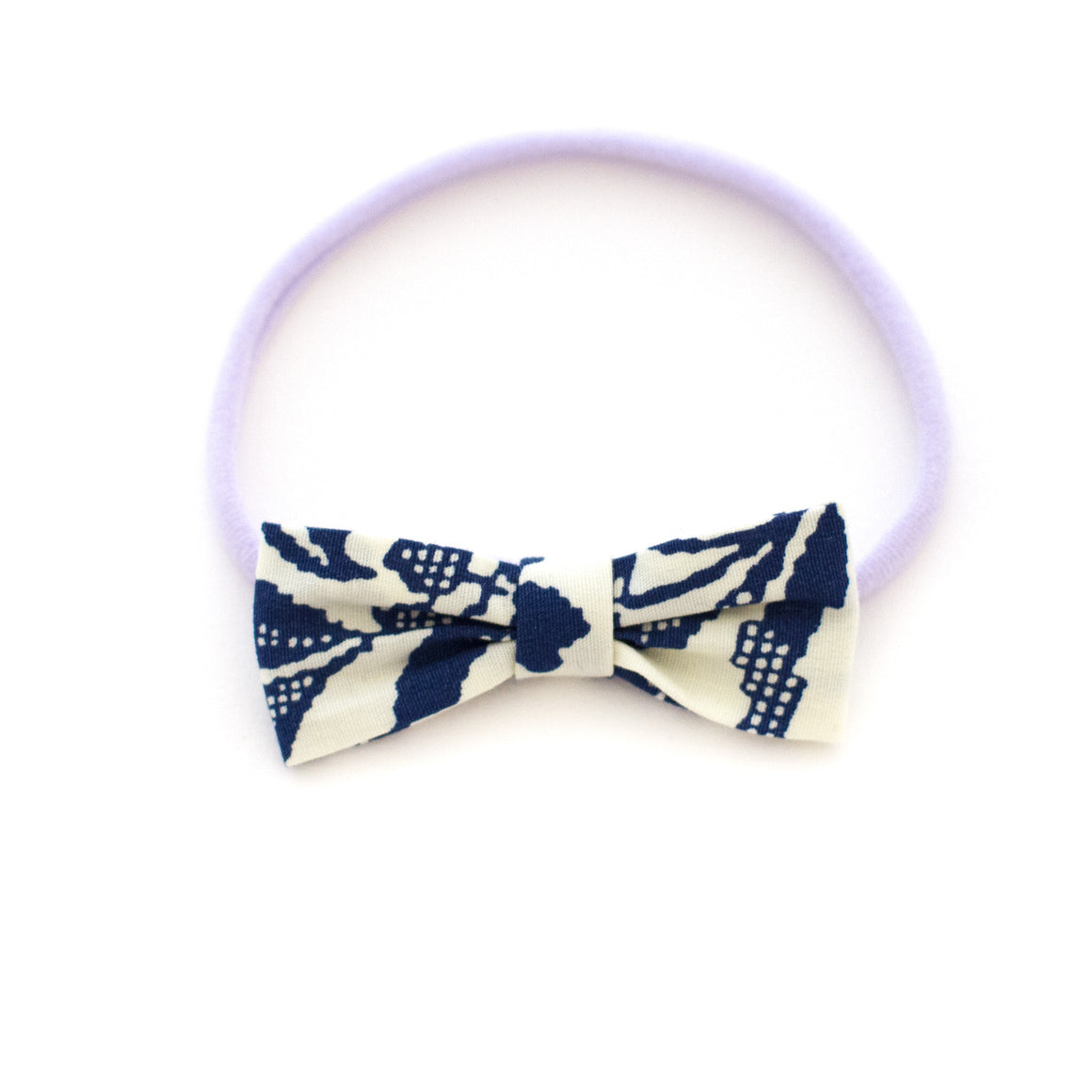 navy floral pixel baby bow headband by mane message hair accessories