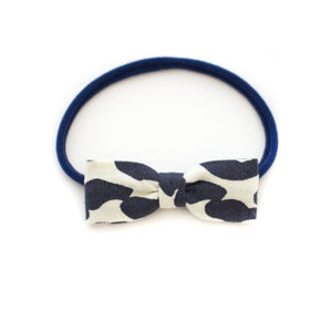 navy wave baby bow headband | small delicate newborn to todller