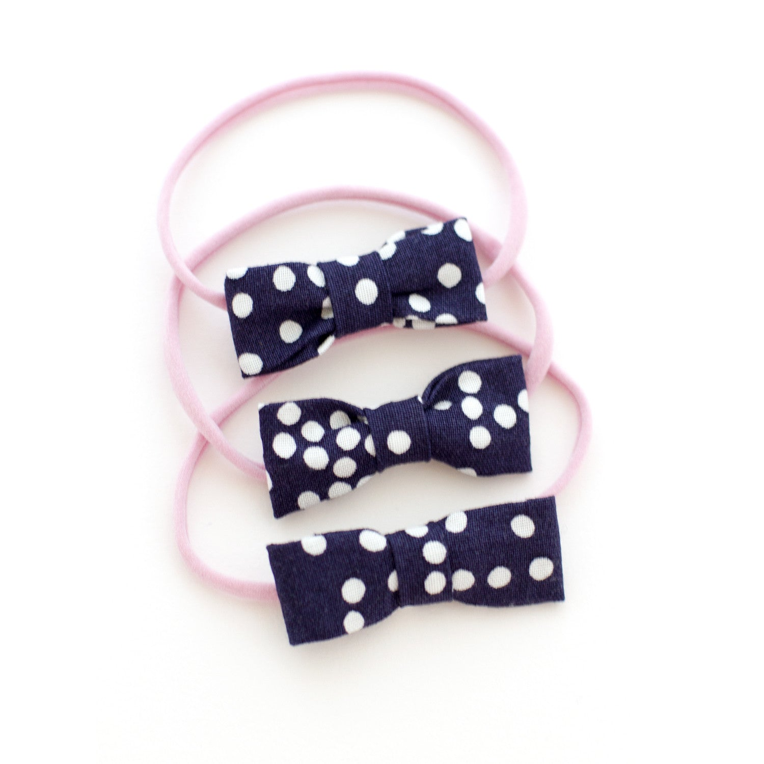Navy Polka Dot Baby Bow Headband
