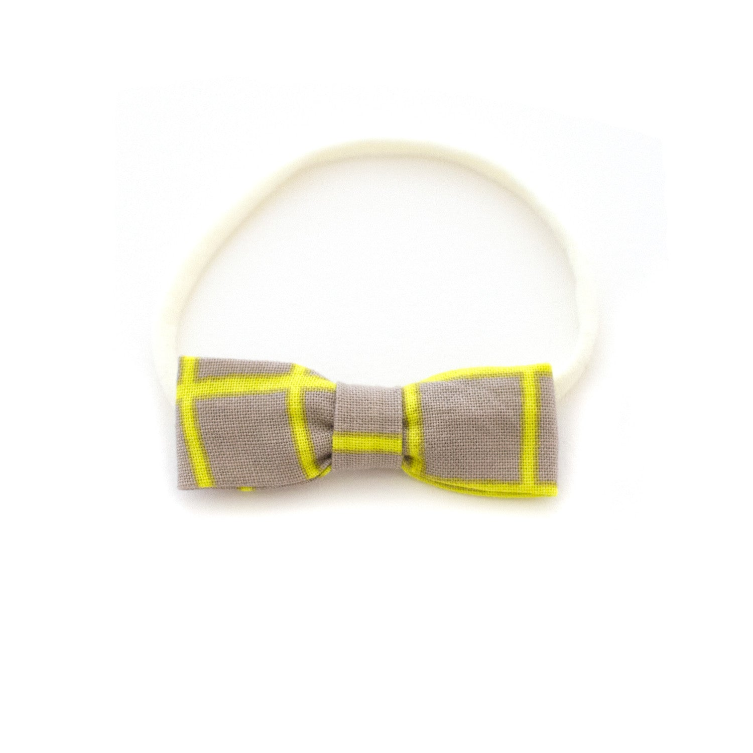 yellow stripe baby bow headband by mane message