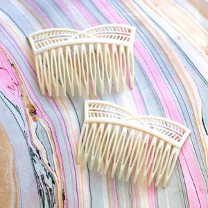 Vintage Faux Ivory Cutout Combs