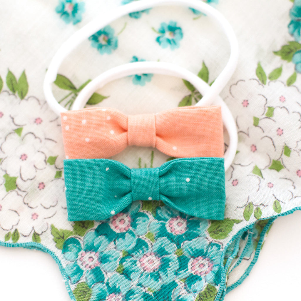 Teal Dot Baby Bow Headband