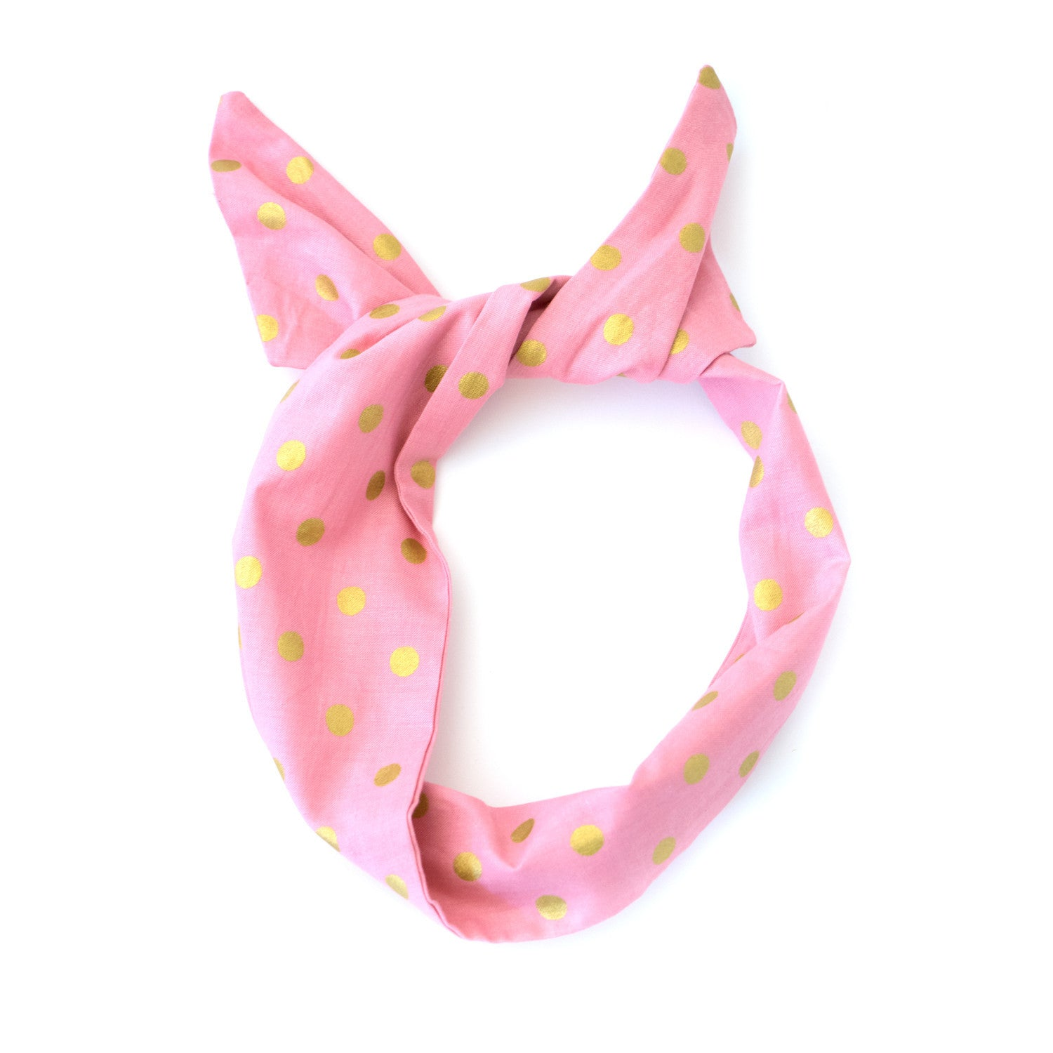 Pink and Gold Polka Dot Wire Headband