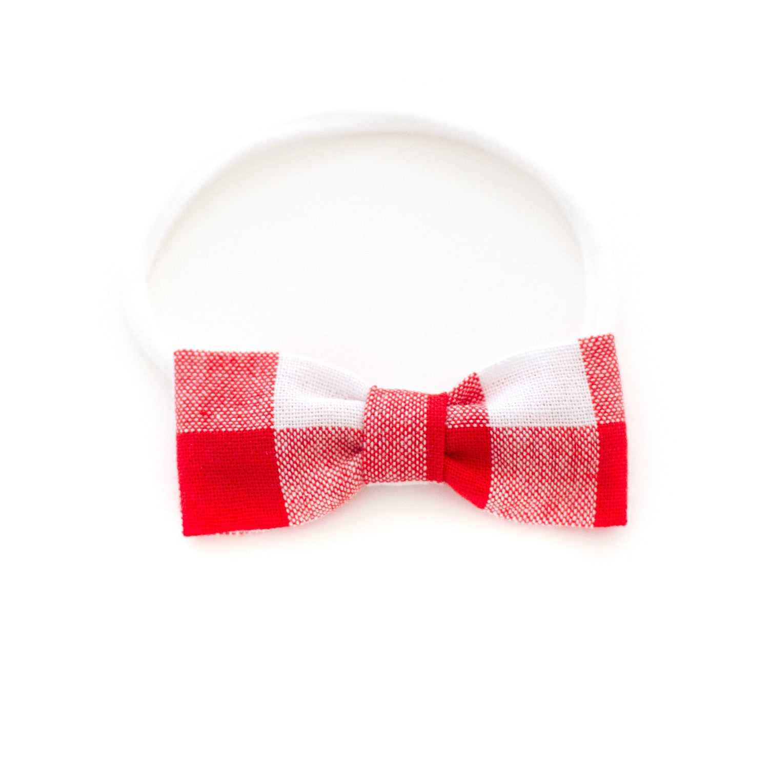red and white buffalo check baby headband by mane message