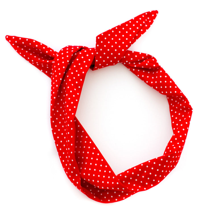 red polka dot wire headband by mane message in berkeley california