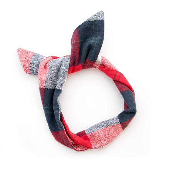 red flannel plaid wire headband
