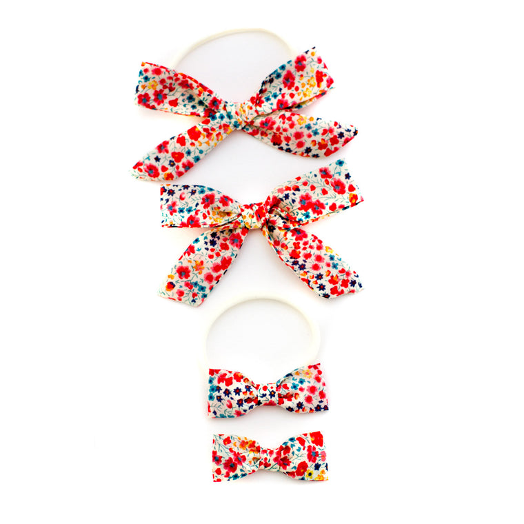 Red Garden Baby bows ribbon and elastic easy to wear and gentle on skin