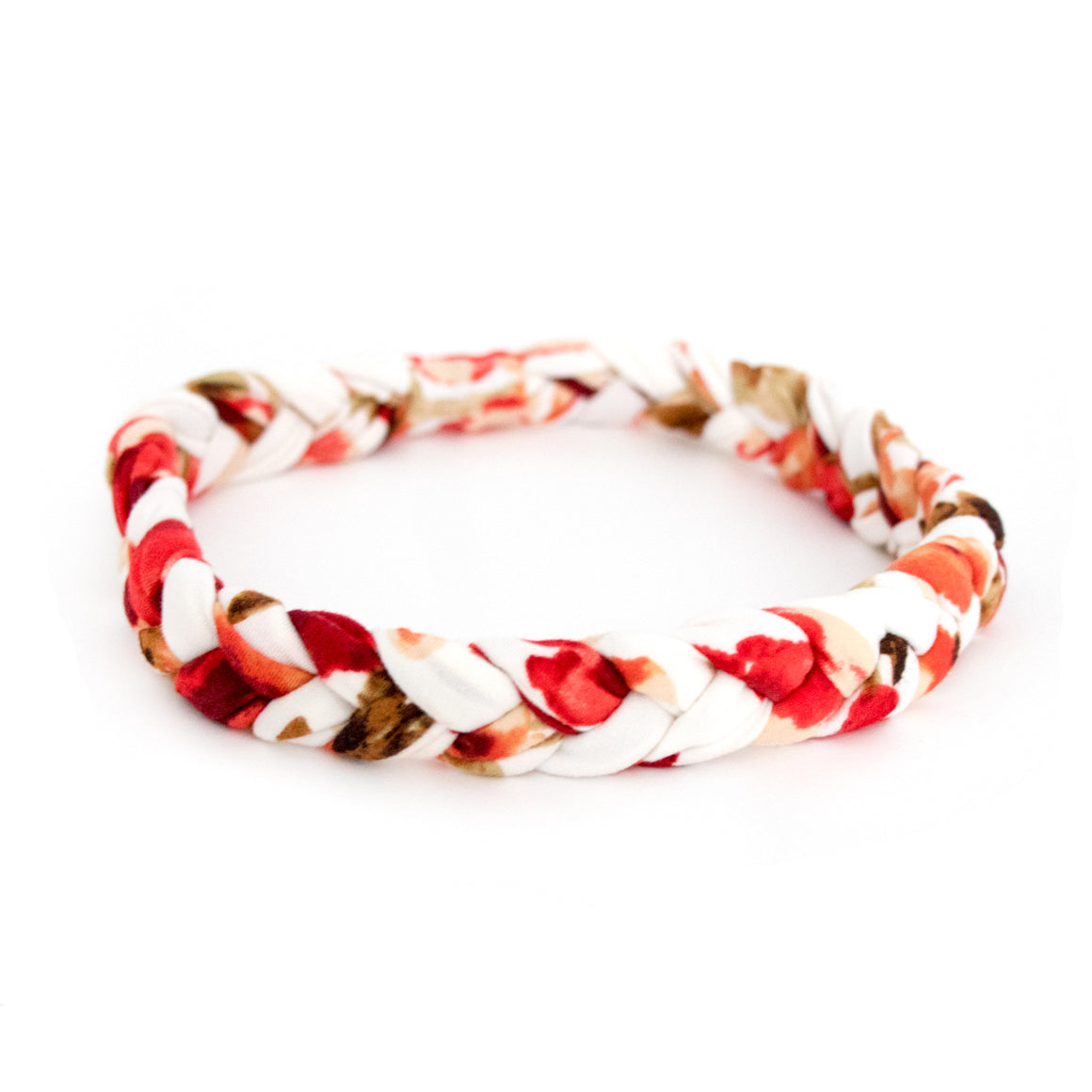 Red Floral Braided Workout Headband