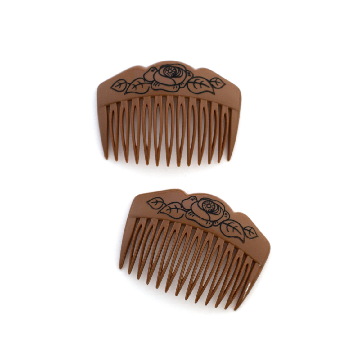 Vintage Brown Rose Combs