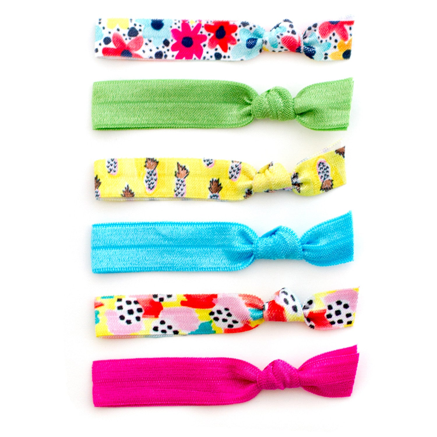 pineapple daisy abstract print elastic hair ties by mane message