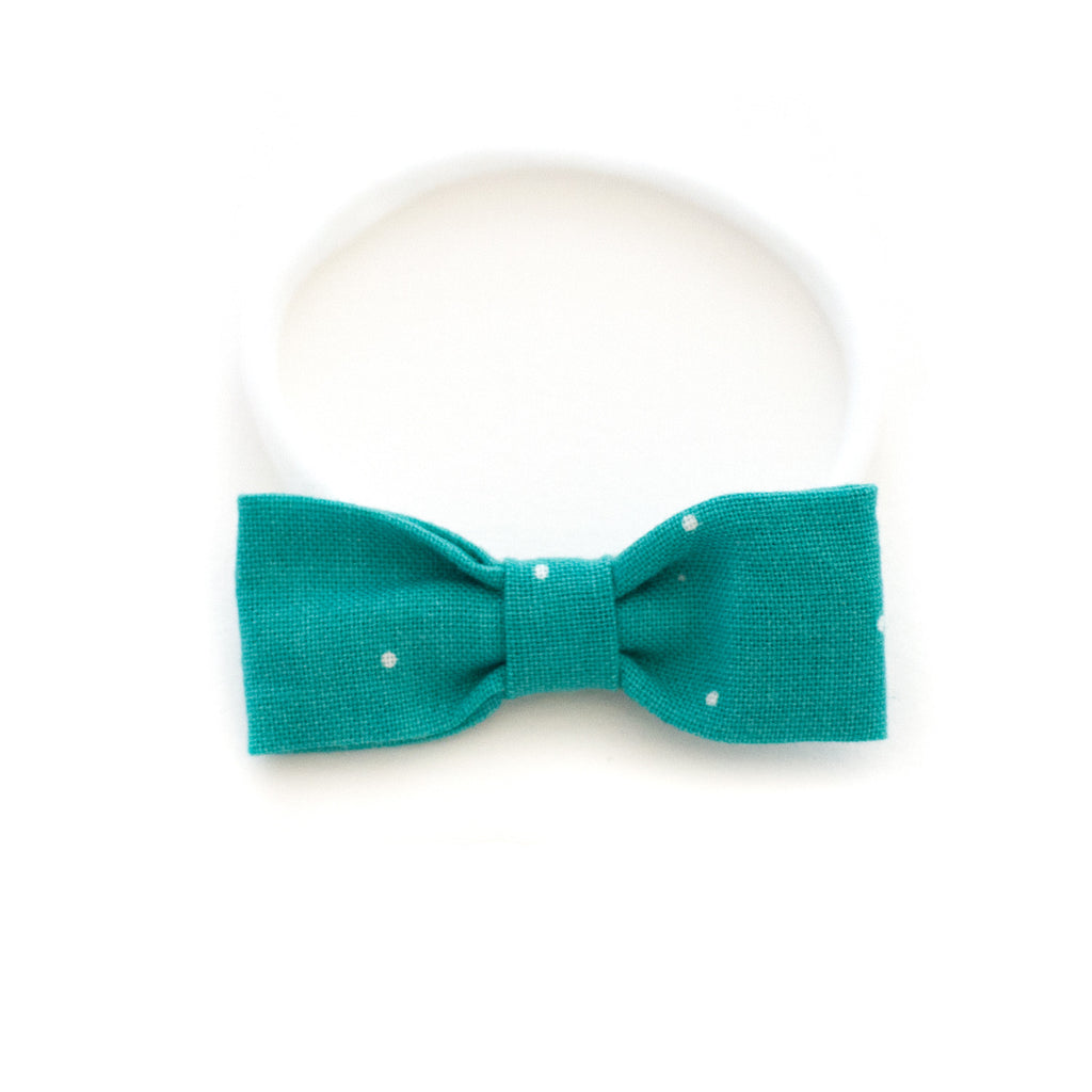Teal Dot Baby Headband | Small Delicate Small Bow