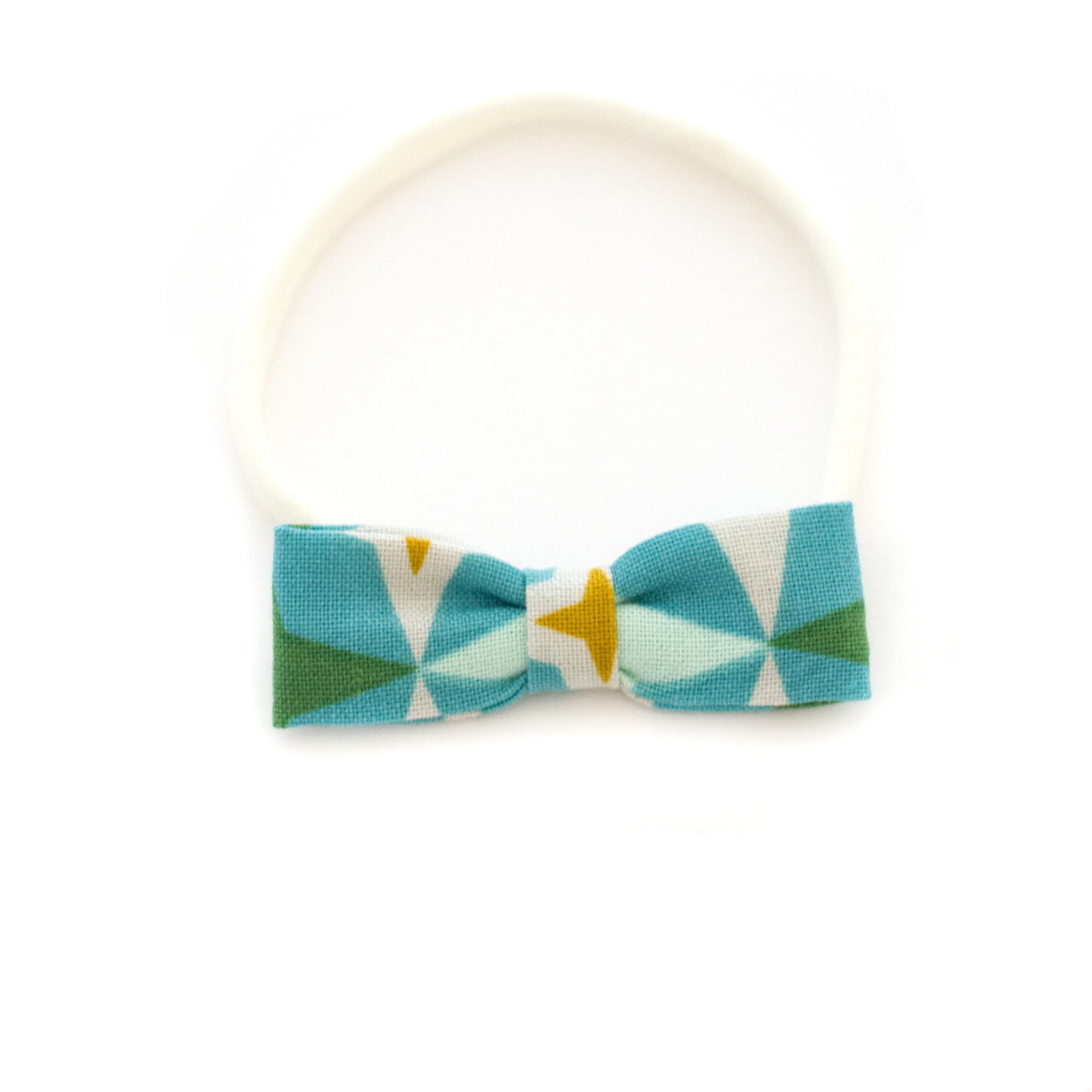 teal geometric baby headband small bow for delicate bow