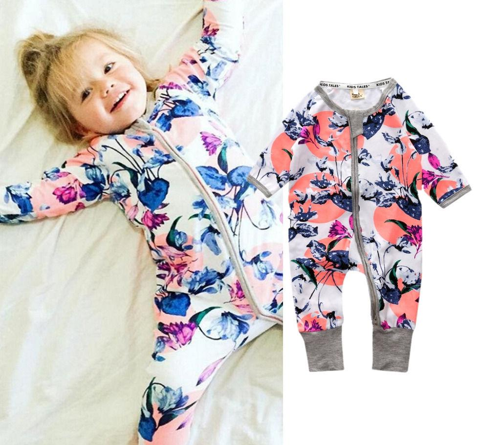 Newborn Baby Girls Floral Long Sleeve Cotton Zipper Romper Jumpsuit Outfits Fashiondresskily-dresskily