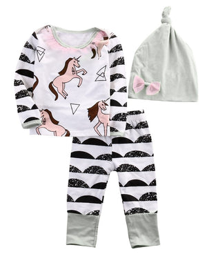 Autumn NEW Cute Newborn Baby Boys Girls Horse long sleeve Tops +Longdresskily-dresskily