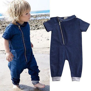 2016 Baby Boys jeans Clothes Denim short sleeve solid Romper Jumpsuitdresskily-dresskily