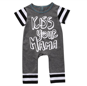 Summer 2017 Striped letters print Romper Baby Boys Girl Kids Cotton Clothesdresskily-dresskily