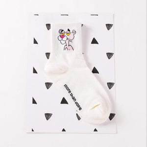 Fashion Pink Panther Printed Cotton Autumn Winter Socks For Women Cute Cartoondresskily-dresskily