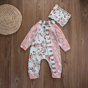 Floral Newborn Baby Girls Clothes Romper Hat Flower Casual Autumn Clothing Jumpsuitdresskily-dresskily