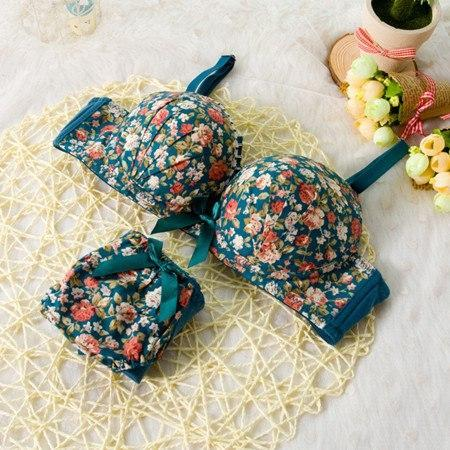 High quality Women Seamless Underwear Modal Comfortable Lovely Bra Set Floral Bradresskily-dresskily