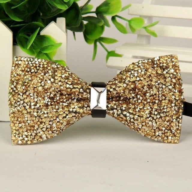 fashion 2016 mens High-grade gold diamond crystal gem bow tie 12cm-6cmdresskily-dresskily