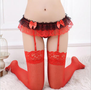 Sexy Stockings For Women Bow Sheer Net Lace Lace Over The Kneedresskily-dresskily