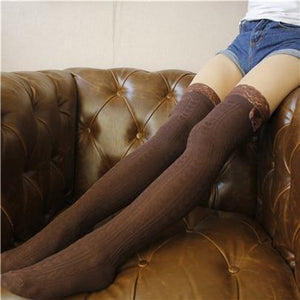 Fashion Sexy Warm Thigh High Over The Knee Socks Long Cotton Stockingsdresskily-dresskily