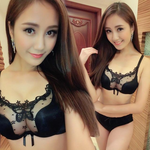 Luxury Thin section Perspective lace brand sexy gather push up bra setdresskily-dresskily