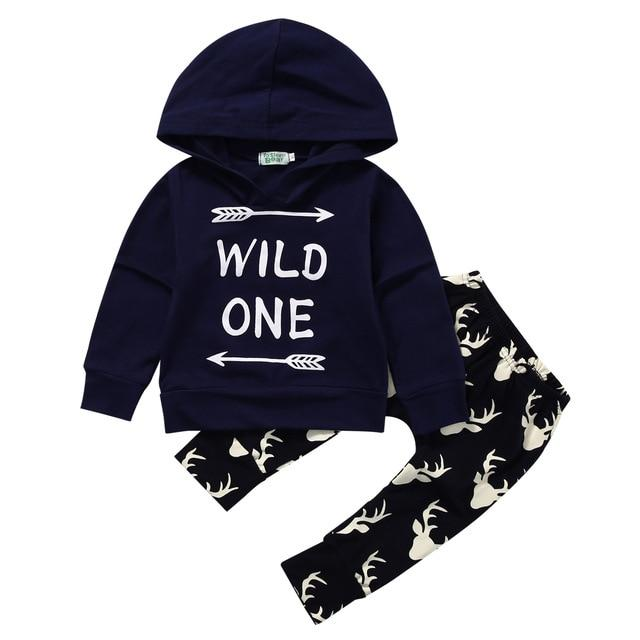 2PCS Set Baby Clothes Infant Newborn Bebes Long Sleeve Hooded Sweatshirt Wilddresskily-dresskily