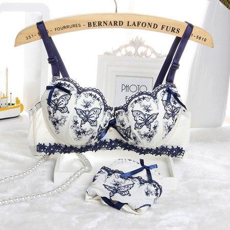 New 2015 Sexy Intimates Womens Bra Set Embroidery Lace Lingerie Ladies Pushdresskily-dresskily