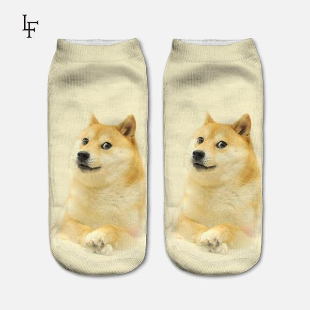 New Arrival 3D Pug Dog Print Socks Casual Harajuku Art Socks Lowdresskily-dresskily
