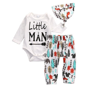 Newborn Baby Boys Clothes Little Man Long Sleeve Cotton Romper Pants Leggingsdresskily-dresskily