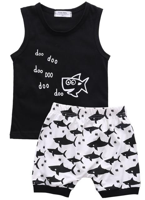 Baby Shark Summer Sleeveless Outfits Newborn Babies Boys Printing Vest Top|+Shorts Outfitdresskily-dresskily