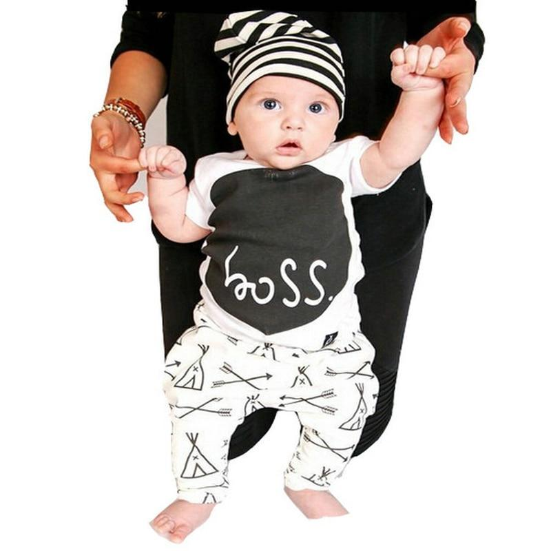 Casual Baby Boy Clothing Set Cotton Short Sleeve BOSS Print T-shirtdresskily-dresskily