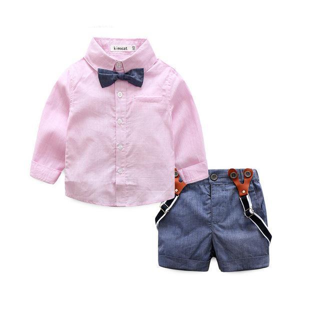 2017 gentleman formal baby boys clothing sets infant spring autumn tie shirt+overallsdresskily-dresskily