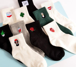 funny female Woman Socks women Japanese Concise Black And White Original Olddresskily-dresskily