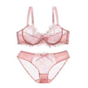 Fashion embroidery bras underwear women set plus size lingerie sexy C Ddresskily-dresskily