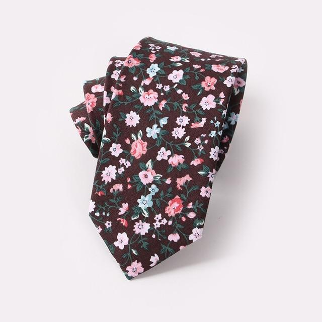 Men Floral Dots Tie Cotton Narrow and Skinny Casual Ties fordresskily-dresskily