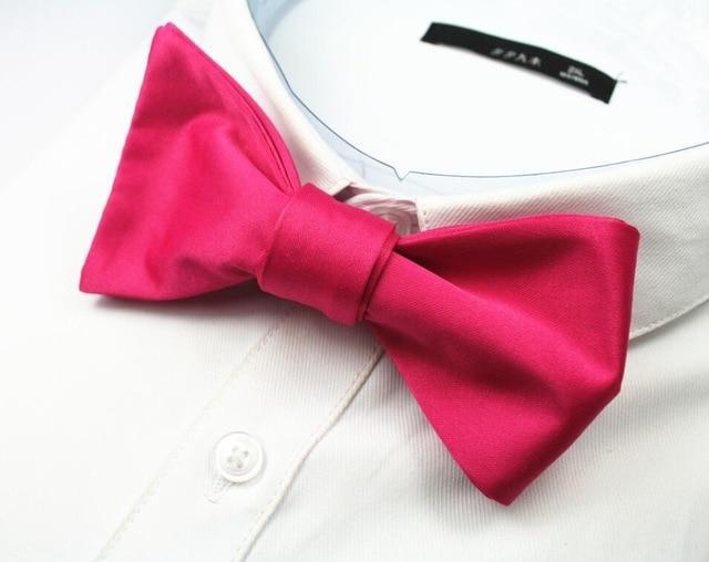 New Quality Fashion Mens Bowties Solid Color Plain Silk Self Tiedresskily-dresskily