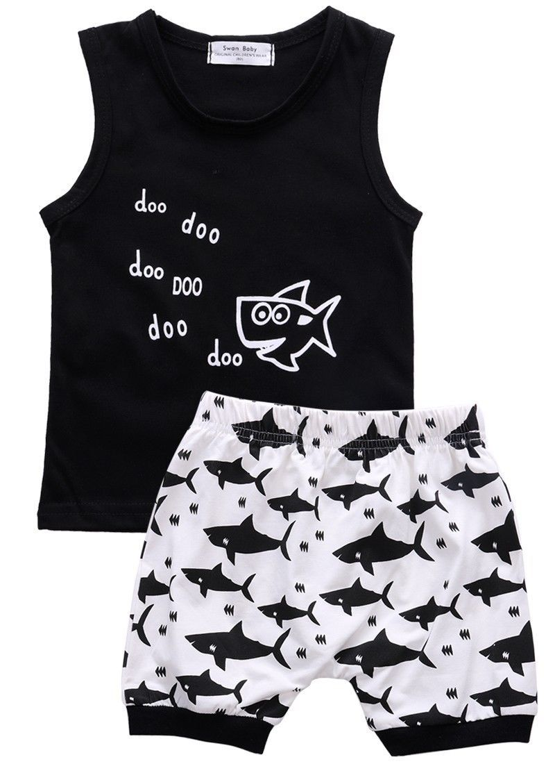 Summer baby girls Boys clothes Set cotton Sleeveless Vest letter t-shirt +dresskily-dresskily