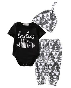 Ladies I Have Arrived Newborn Baby Boy Romper Top Pants Leggings Hatdresskily-dresskily