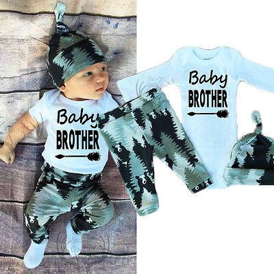 Newborn Baby Boy Girl Long Sleeve Tops +Long Pants Hat 3PCS Outfitsdresskily-dresskily