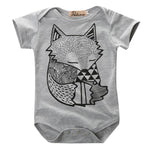 Unique Toddler Infant Newborn Baby Boys Girls Gray Fox Print Romper Jumpsuitdresskily-dresskily