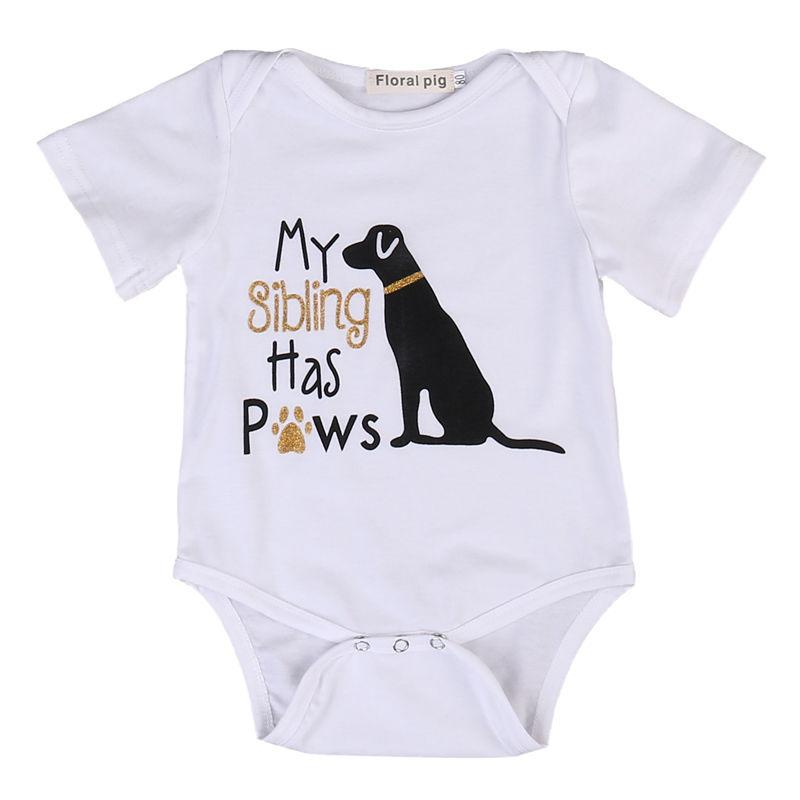 Newborn Toddler Baby Boys Girls Clothes Tops Bodysuit Short Sleeve Cute Animalsdresskily-dresskily